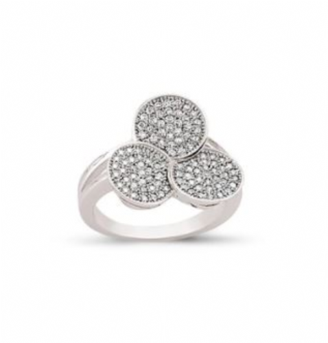 Ladies Silver | Cluster Ring |Triple Round Shaped